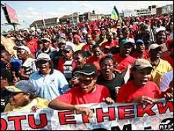 South African unionists march against fuel costs July 9th.