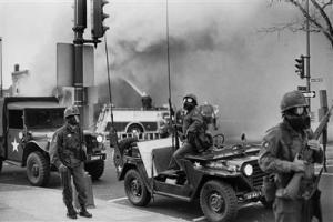 Troops were used to restore order during the riots of 1968.