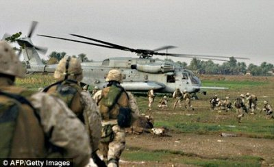US Marines during an operation in Iraq near the Syrian border (file picture)