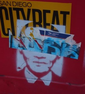 Obama stencil on City Beat rack in Ocean Beach, October 2008 (Patty Jones -OB Rag)