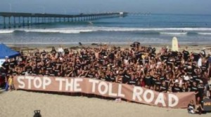2008 Paddle for Clean Water event participants urging us to stop the toll road.  The toll road was defeated on December 18th, 2008.