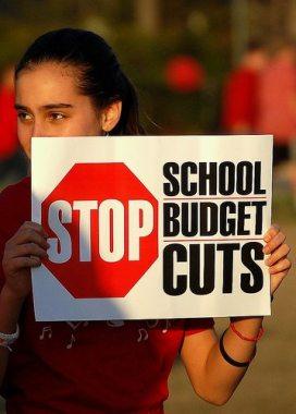school cuts girl sign