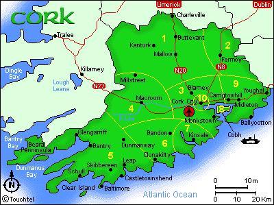 Map Of Cork County Ireland.Ireland Cork County Map
