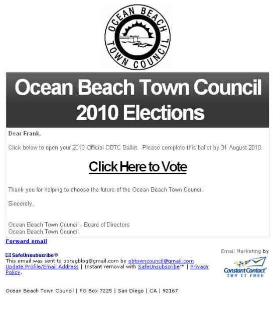 OB Town Council ballat Aug 2010