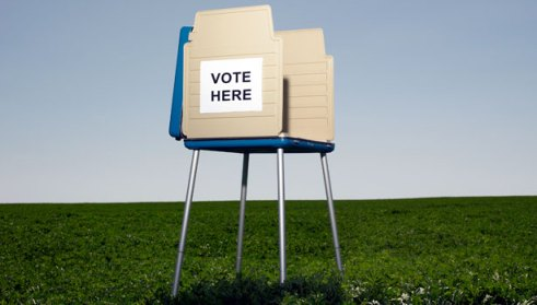 voting booth grass