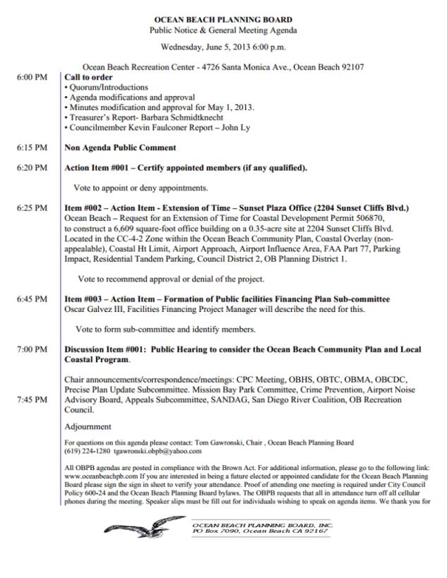 OB Plan Bd agenda 6-5-13