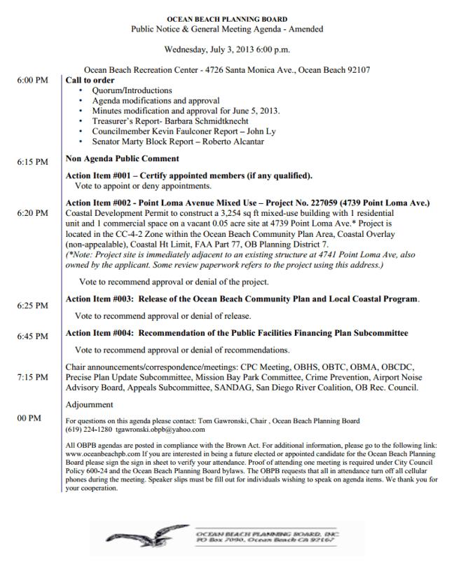 OB Plan Bd Agenda 07-03-13