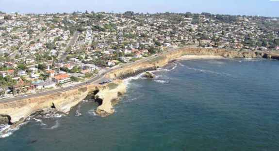 sunset cliffs from air
