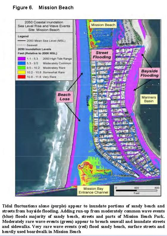 Mission Beach map sea level rise