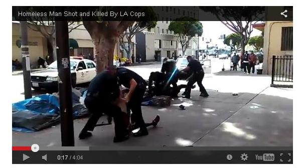 LA cops shoot homeless 3-1-15