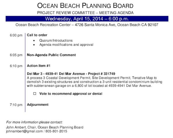 OB Plan Bd Proj Rev Agenda 04-15-15