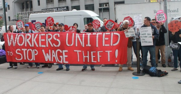 Stop wage theft protest