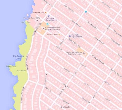 Sunset Cliffs neighbrhd map