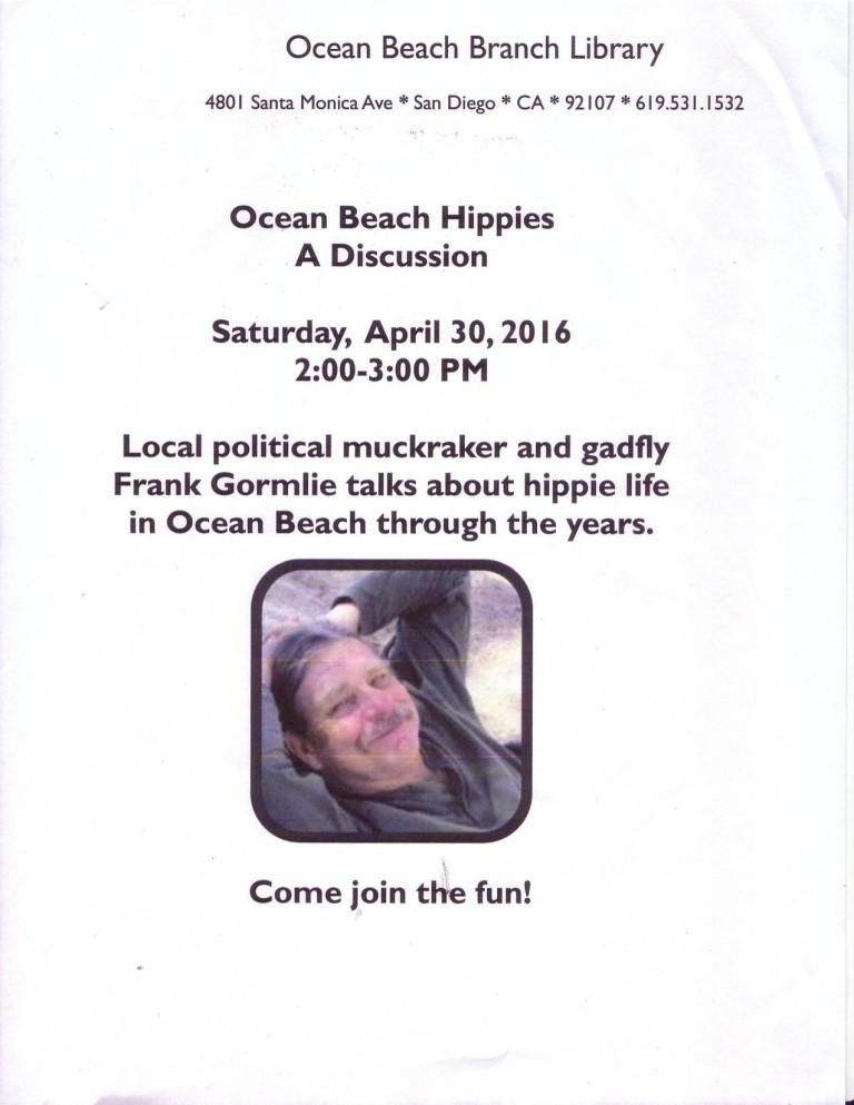 "Poster for Frank Gormlie's ""Ocean Beach Hippies"" talk, April 30, 2016"