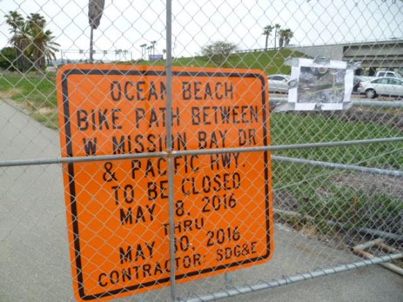 OB Bike path close sign 5-8-16