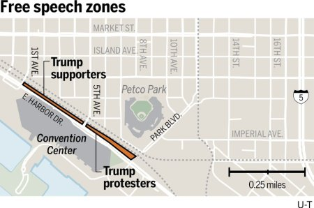 Trump free speech zones map U-T