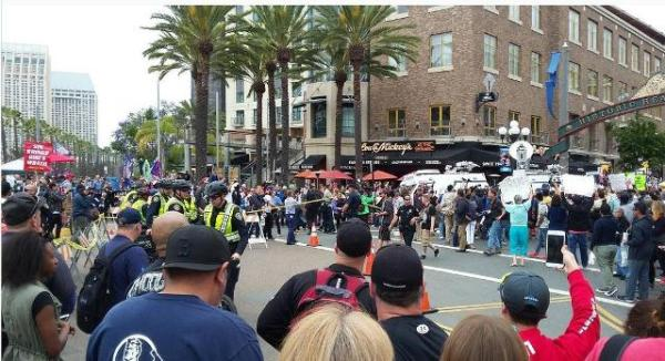 Arrival of janitors at San Diego Trump protest, May 27, 2016