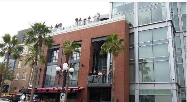 San Diego Trump protest, May 27, 2016. Oabservers on balconies and rooftops of buildings overlooking Harbor Drive