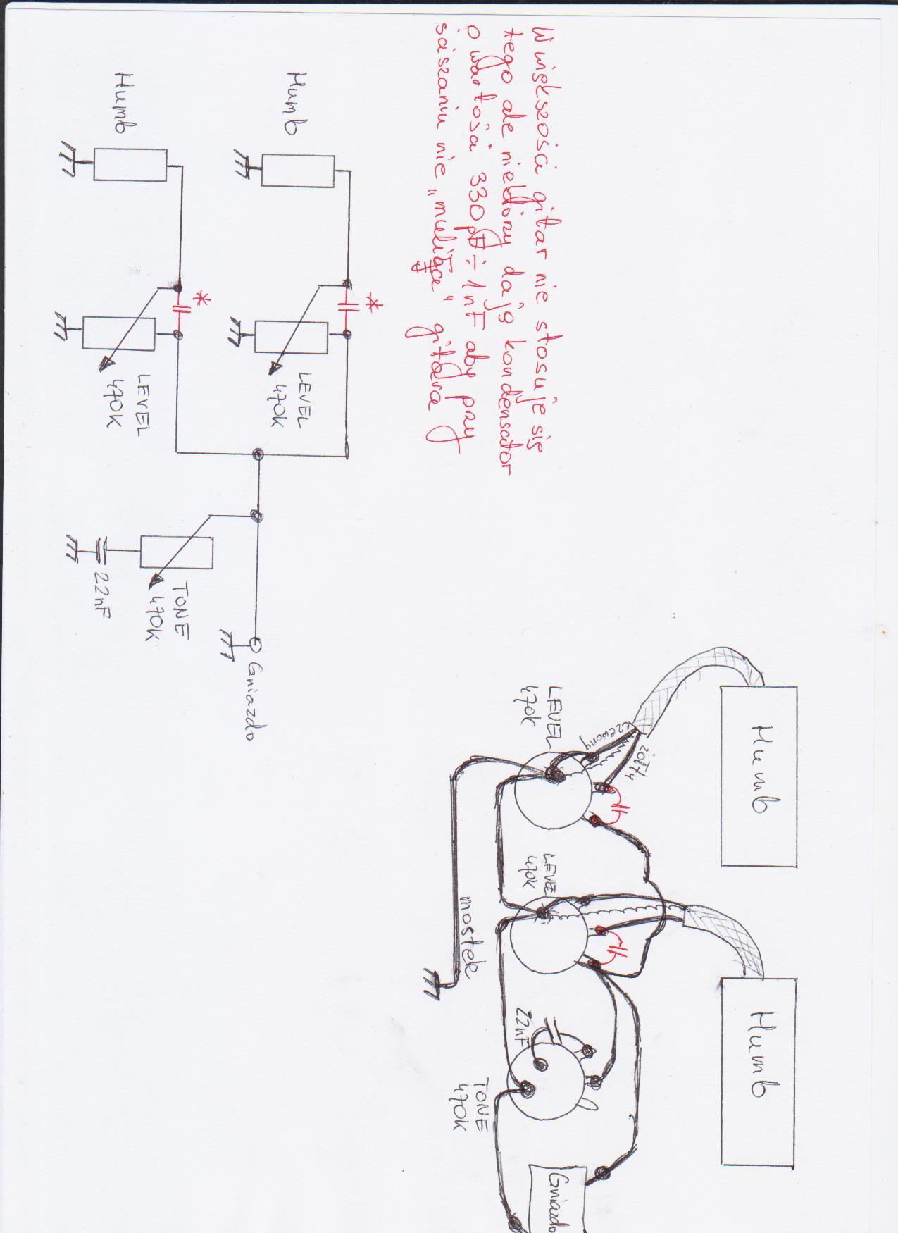 Elektronika gitary Defil tosca schemat podłączenia