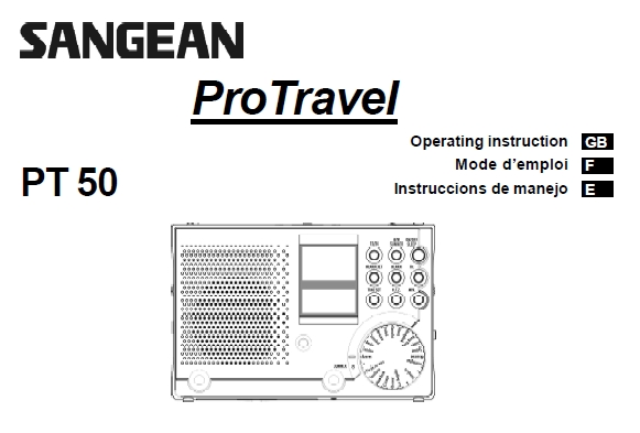 Sangean PT-50 AM-FM-Shortwave Clockradio Manual EN