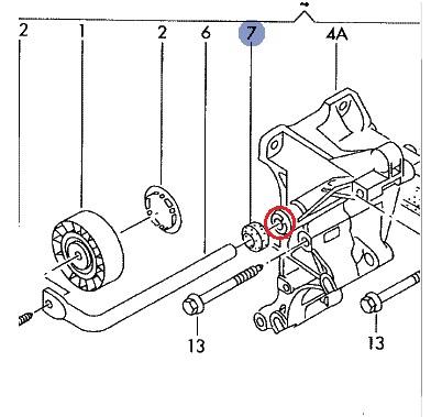 Tuleja metalowa napinacza paska klinowego Audi A6, 80
