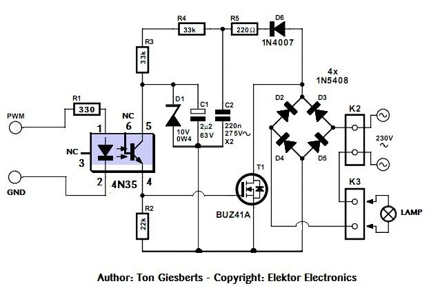 AC lamp dimmer using MOSFET PWM.