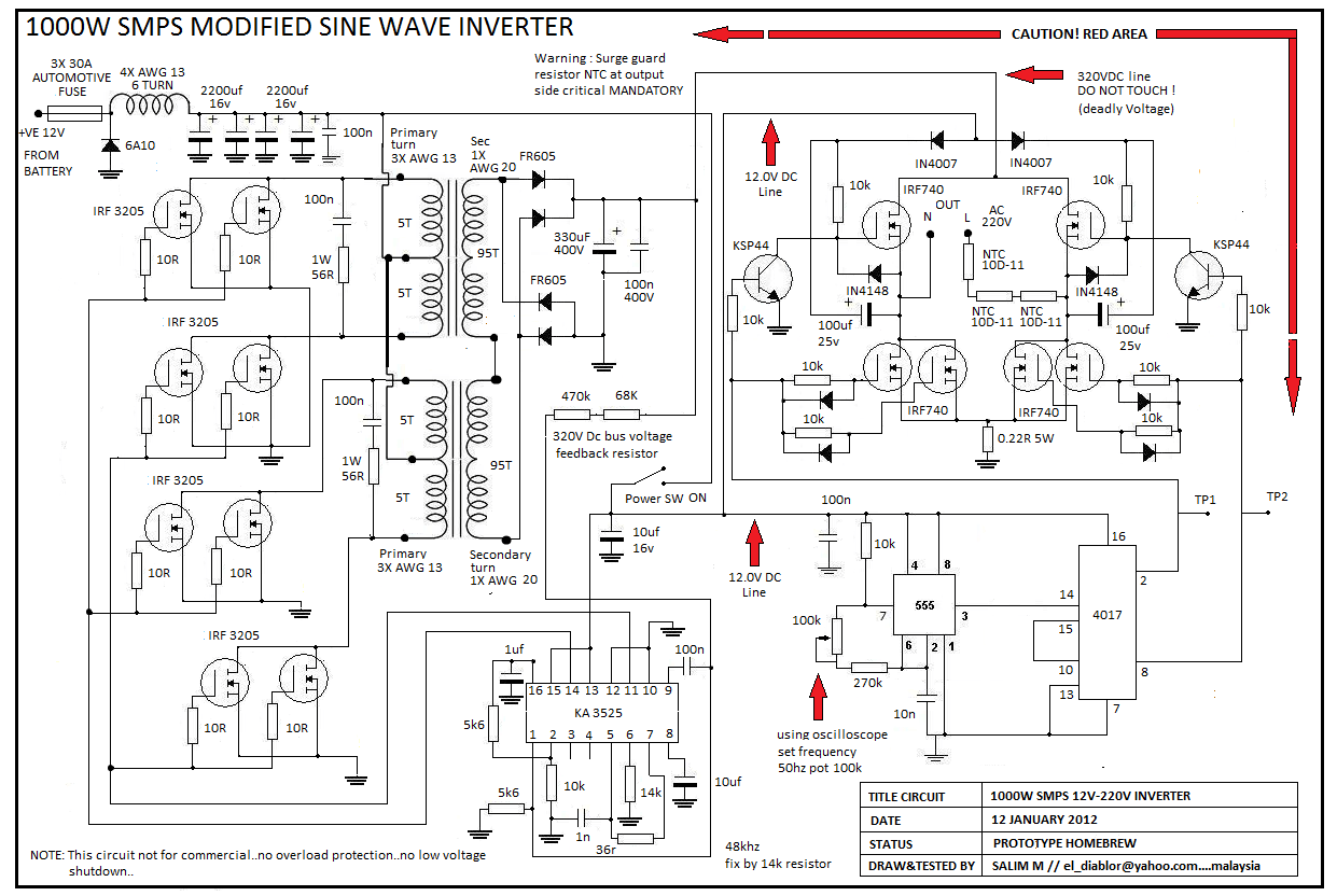 How To Make This W Smps Inverter Ckt Working