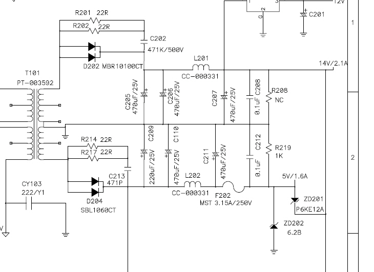 Monitor LCD Proview model 900P wartość diody Z202