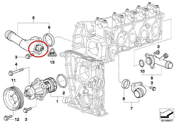 318 Czujnik temperatury lokalizacja BMW E46 1.9 benz. 2002