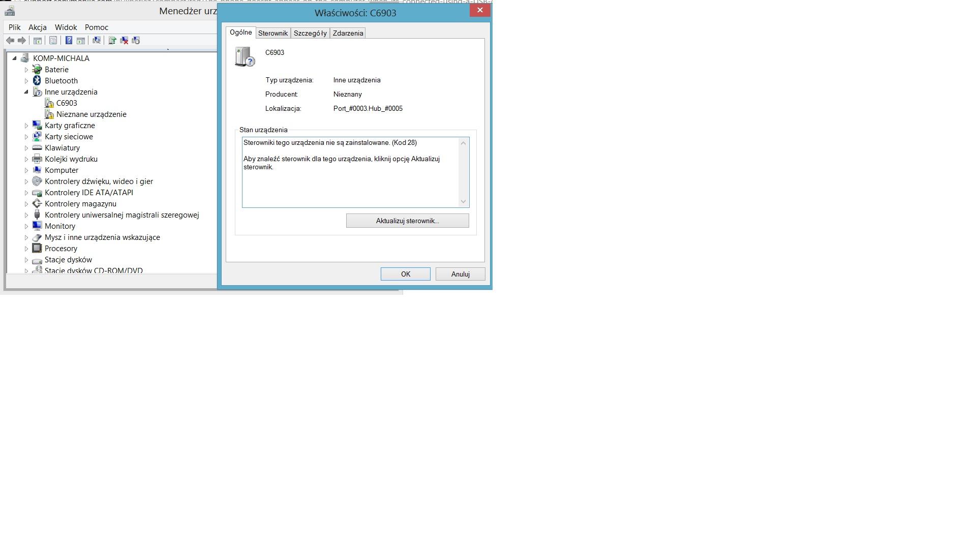 SONY Xperia Z1, brak połączenia USB i niereagujący ekran