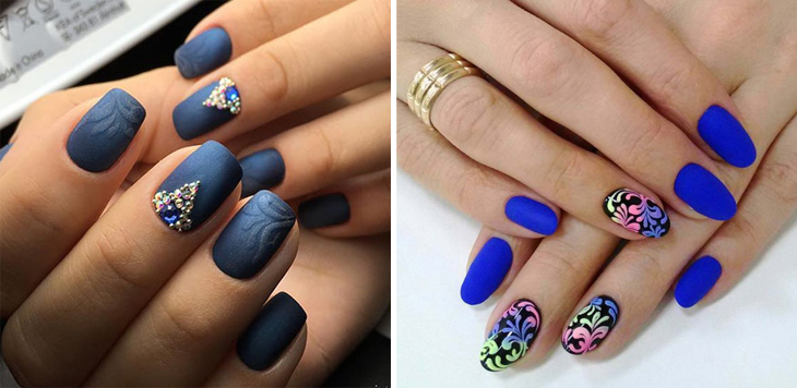 Matte manicure blue ideas