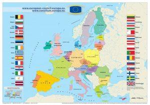 Kartta Nykyaikaisesta Lansi Euroopasta Kaupunkien Kanssa Euroopan