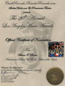 """20th Los Angeles Music Awards 2010 Nomination for Shane O'Brien"""
