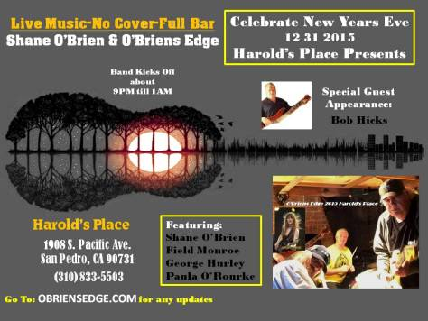 OBRIENS EDGE NEW YEARS EVE Poster 2015