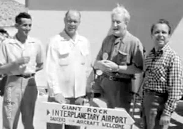 from left - Orfeo Angelucci, George Van Tassel, Frank Sculy, George Hunt Williamson
