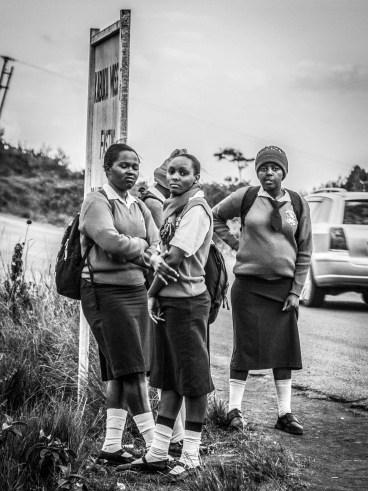 Monochrome: group of school girls