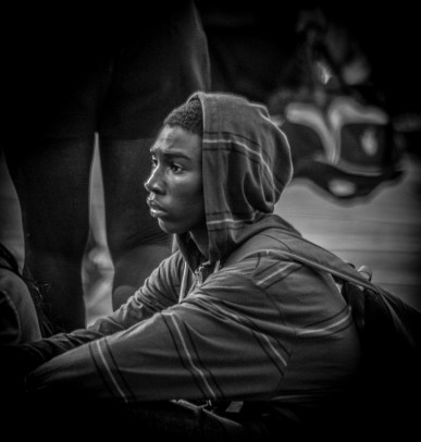 Monochrome: Portrait of boy with hoodie - daydreaming