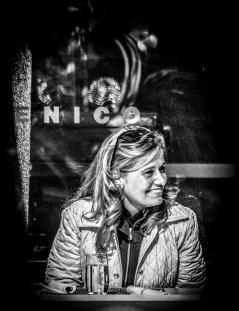 Portrait series of blond woman in a restaurant - part 2