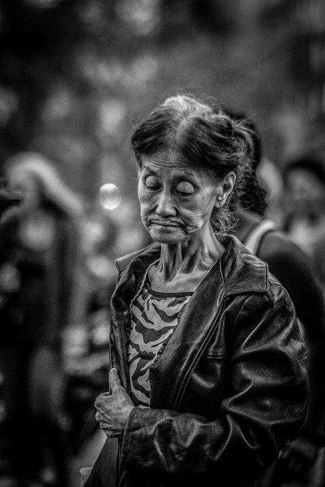 B&W Portrait of Elderly Asian Lady 4