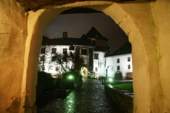 Approaching Clervaux Castle at night
