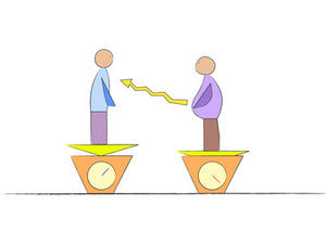 A vector illustration of two men of different weight standing on two scales visualing the importance and transition of weight loss