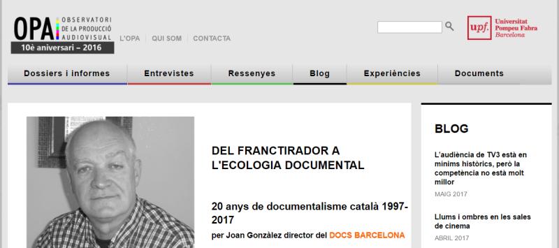 Observatori de la Producció Audiovisual - sitio web