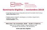 Seminario DigiDoc: Miércoles 7 de noviembre, 2018 – UPF, Barcelona