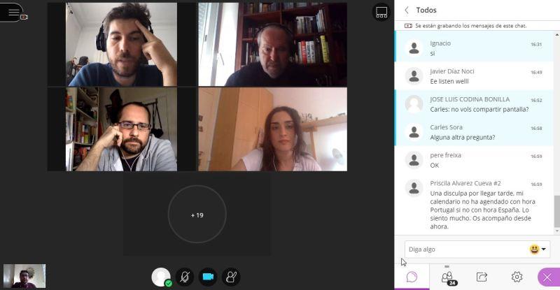 Los profesores Carles Sora y Lluís Codina, con los doctorandos Miran Bulut y José María Cabello, en sesión doctoral a distancia.