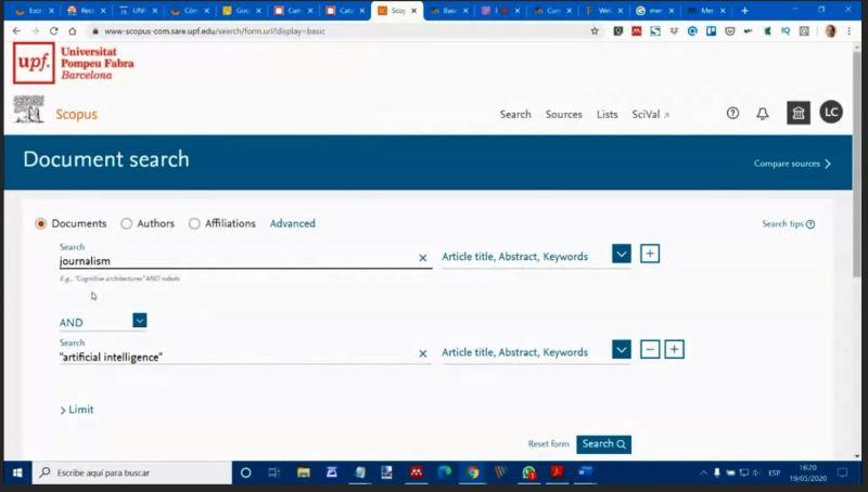 Captura de pantalla donde consta la interfaz de búsqueda de la base de datos Scopus.