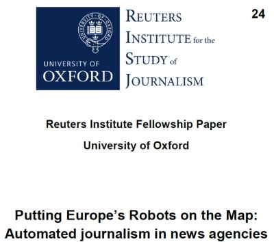 Informe sobre periodismo automaatizado. Cubierta informe Reuters
