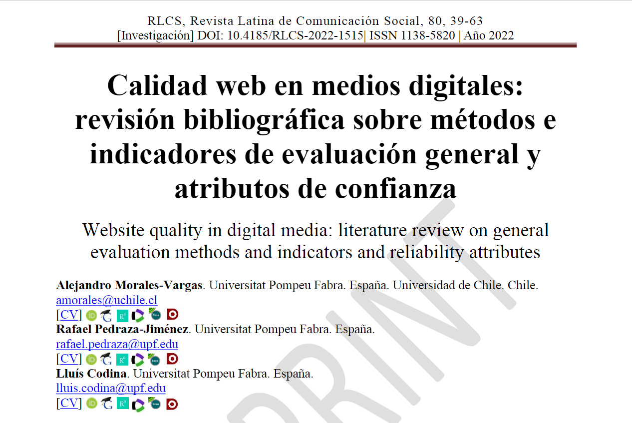 Calidad web en medios digitales: revisión bibliográfica sobre métodos e indicadores de evaluación general y atributos de confianza