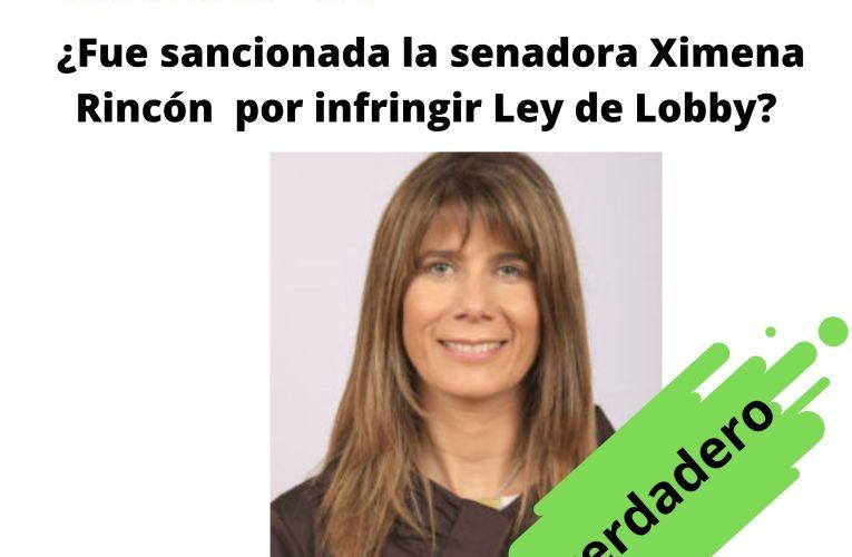 ¿Fue sancionada la senadora Ximena Rincón por infringir la Ley de Lobby?