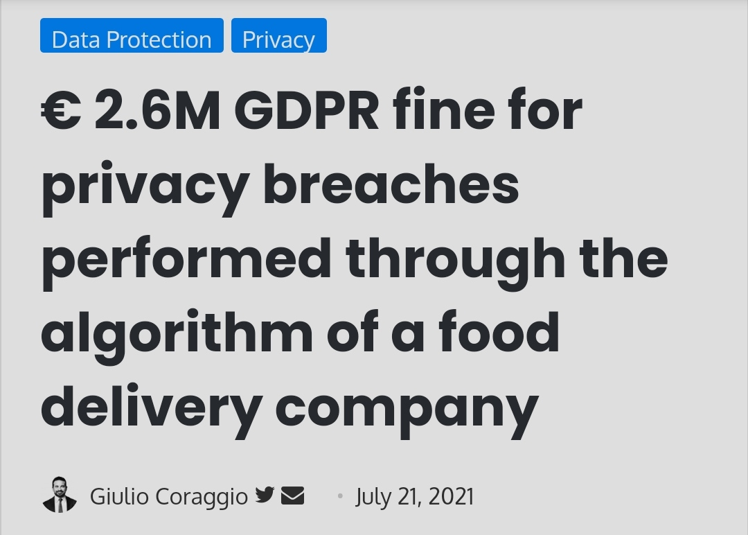 € 2.6M GDPR fine for privacy breaches performed through the algorithm