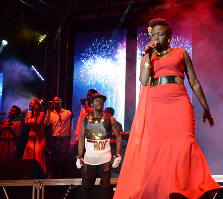 Sandra Suubi at the Airtel Trace Music Star contest